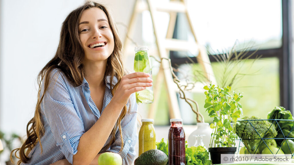 Healthy woman and babanced diet